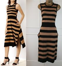Karen Millen Black Brown Stripe Knit Cocktail Casual Jumper Midi Dress UK 6-8 XS