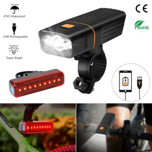 Bike Lights USB Rechargeable 1500LM LED Bicycle Front Rear Headlight Waterproof