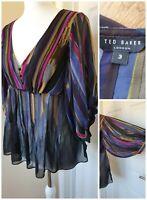 Ted Baker Top Size 3 100% Silk Stripe Semi Sheer Multi Coloured Bell Sleeves