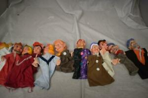 11 Vintage Punch & Judy Style Hand Puppets