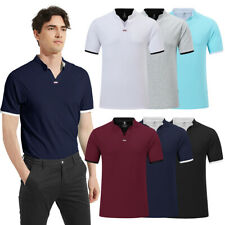 Mens Casual Sport Polos Shirt Stand Collar V-neck Breathable Running Gym Fitness