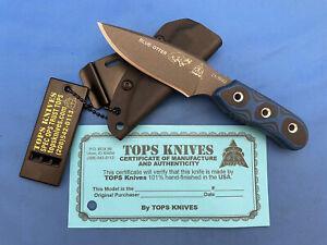 TOPS Blue Otter Knife Blue/Black G-10 1095 Carbon Steel Kydex Sheath USA