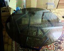 Glastisch 6 Eck Stahlrahmen und Rauchglas braun