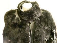 Ladies Black Leather New Zealand Opossum Jacket very well made M 12 Pics! Coat