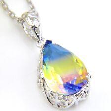 2018 New Arrival Water Drop BI-COLORED Tourmaline Gems Silver Necklace Pendants