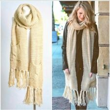 NEW Pocket Scarf Cream Chunky Knit Fringe Hem Knitted Beige Ivory Long Gift NWT