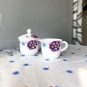 Modern Floral Sugar Bowl and Creamer- Gemya China Tea Set Purple And White