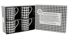 Houndstooth Textile Mugs Set of 4 - Leonardo Fine Bone China Boxed Collection
