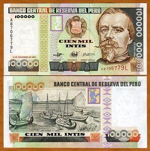 Peru, 100,000 (100000) Intis, 1989,  P-145, aUNC > Lake Titicaca