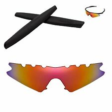 Polarized Fire Red Vented Replacement+Black Earsocks for Oakley M Frame Sweep