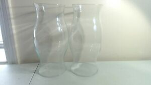 "(2) 9.75"" Colonial Williamsburg Glass Hurricane Type Candle Holder Chimney Shade"