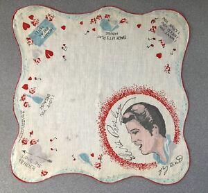 Elvis Presley Handkerchief 1956 EPE White RED TRIM Saperstein Vintage Original