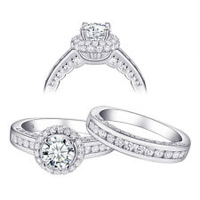 Halo Round Cz Sterling Silver Size 5 Wedding Engagement Ring Set For Women 2.3ct