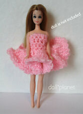 Crocheted Dawn Doll Clothes 2 pc pink Dress & Panties fits Mini-Kingdom Barbie