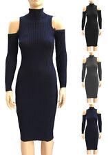 Turtleneck Cold Shoulder Sweater Dress S ~ L