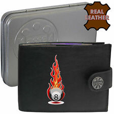 Pool Black Ball Fire Klassek Mens Leather Wallet Sport Snooker gift Metal Box