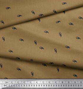 Soimoi Green Cotton Poplin Fabric Eyes Face Print Fabric by the-gBl