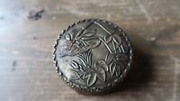 "Vintage Silver Flower Mirror Compact pill Case Box Jar 2.25"" x 7/8"""