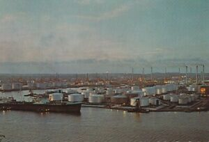 Alte Postkarte - Night view of Shell Refinery - Curacao N.A.