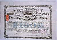 CIVIL WAR U.S. General Isaac J. Wistar (2xWIA) Signed 1870 Canal Bond
