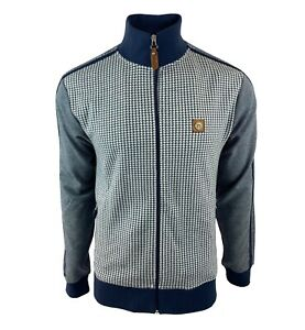 Trojan Badged Houndstooth Track Top - TR/8554 - Navy