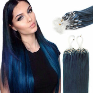 18Inch 100% Remy Loop Micro Ring Silicone Beads Human Hair Extensions 100S BULE