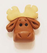Brooch Pin Plastic Resin Wide Eyed Moose Head