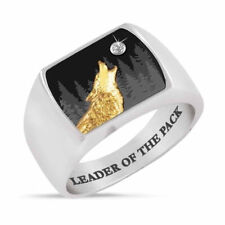 Zircon Rings Mens Band Jewelry Size 10 New listing Punk Fashion Silver Gold Plated Wolf