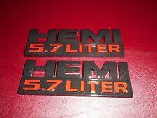 DODGE RAM JEEP GRAND CHEROKEE 5.7 LITER HEMI FENDER TAILGATE EMBLEMS BLACK RED 2
