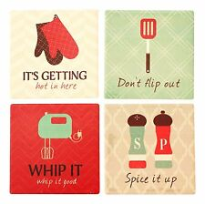 Ceramic Coasters, Set of 4, Funny Cooking & Baking Images & Phrases