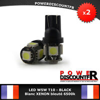 2 Veilleuses ampoules LED W5W T10 6500k Blanc XENON 5 SMD voiture moto BLACK