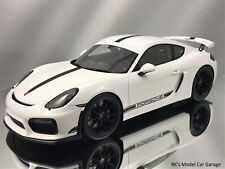 Spark Porsche Cayman GT4 (981C) White with Showcase Resin Model Car 1/18