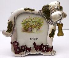 """Dog Photo Frame, Small, Pewter, Dog Bone """"Bow Wow"""", Item 1169"""