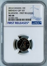 2016 CANADA NGC FIRST RELEASES MS68 BIRTHDAY GIFT SET-BLUENOSE DIME 10C!
