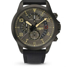 ACCURIST MENS SKYMASTER MULTI DIAL BLACK LEATHER STRAP WATCH GREY DIAL 7054
