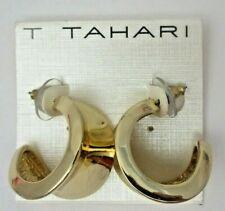 Tahari Wide C Hoop Pierced EARRINGS NEW Gold Tone Signed