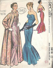 1956 Vintage Sewing Pattern B34 EVENING DRESS & COAT (1793R)