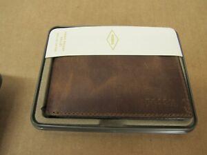 Fossil Derrick Bi-Fold Leather Wallet - Brown