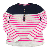 Lilly Pulitzer Henley Pull Over Sweater Size Small Pink White Blue Striped
