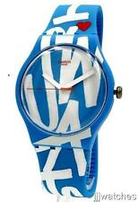 New Swiss Swatch White In Blue Silicone Band Watch 43mm SUOS103 $70