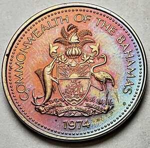 1974 BAHAMAS 1 ONE CENT BU UNC RAINBOW COLOR TONED COIN
