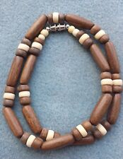 Beach Surfer Necklace 18 inch Brown Wood and Tan Accent Beads