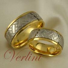 8mm Titanium Matching Set Rings 14k Gold RARE Tire Band