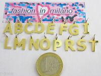 1 ciondolo charms lettera alfabetto in argento 925 placcato oro giallo italy