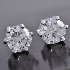 Hot Sale , New Fashion 8mm Prong Set CZ Silver White GF Mens Stud Earrings #j76