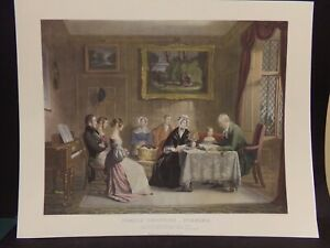 1841 Reprod Print -Family Devotions . Engraved & Hand-colored  by James Scott.