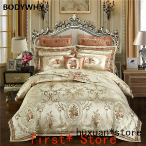 Gold Color Europe Luxury Royal Bedding Sets Queen King Size Satin Jacquard Cover