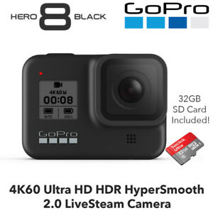 GoPro Hero 8 Black - 4k60 Ultra HD HDR hypersmooth 2.0 Echtdampf Kamera + 32gb SD