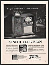 1949 ZENITH Gotham Round Screen TV Television Radio Phonograph Console PRINT AD
