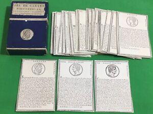 RARE Old c1760 Antique Vanackere L'HISTOIRE ROMAINE Playing Cards ROMAN HISTORY
